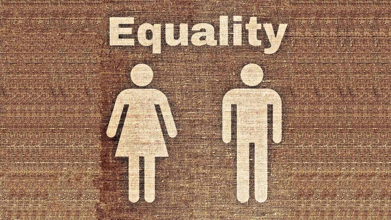 Ikon föreställande en kvinna och en man, samt texten 'Equality'