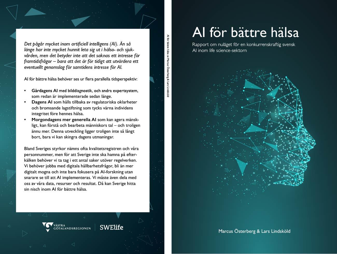 Omslag från rapporten AI för bättre hälsa (Swelife, 2020)