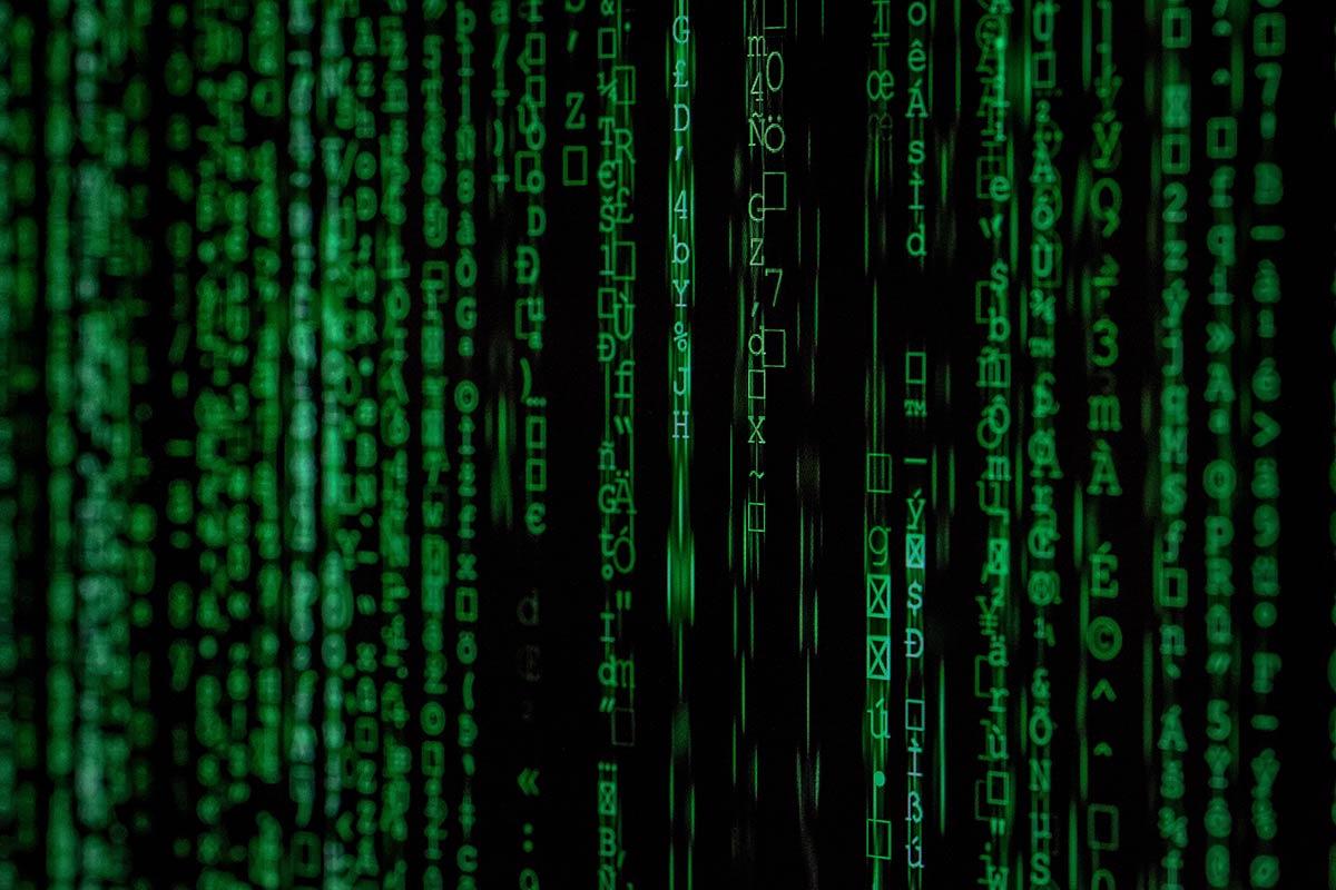 Dekorbild liknande den förbiflimrande koden i filmen The Matrix från 1990-talet