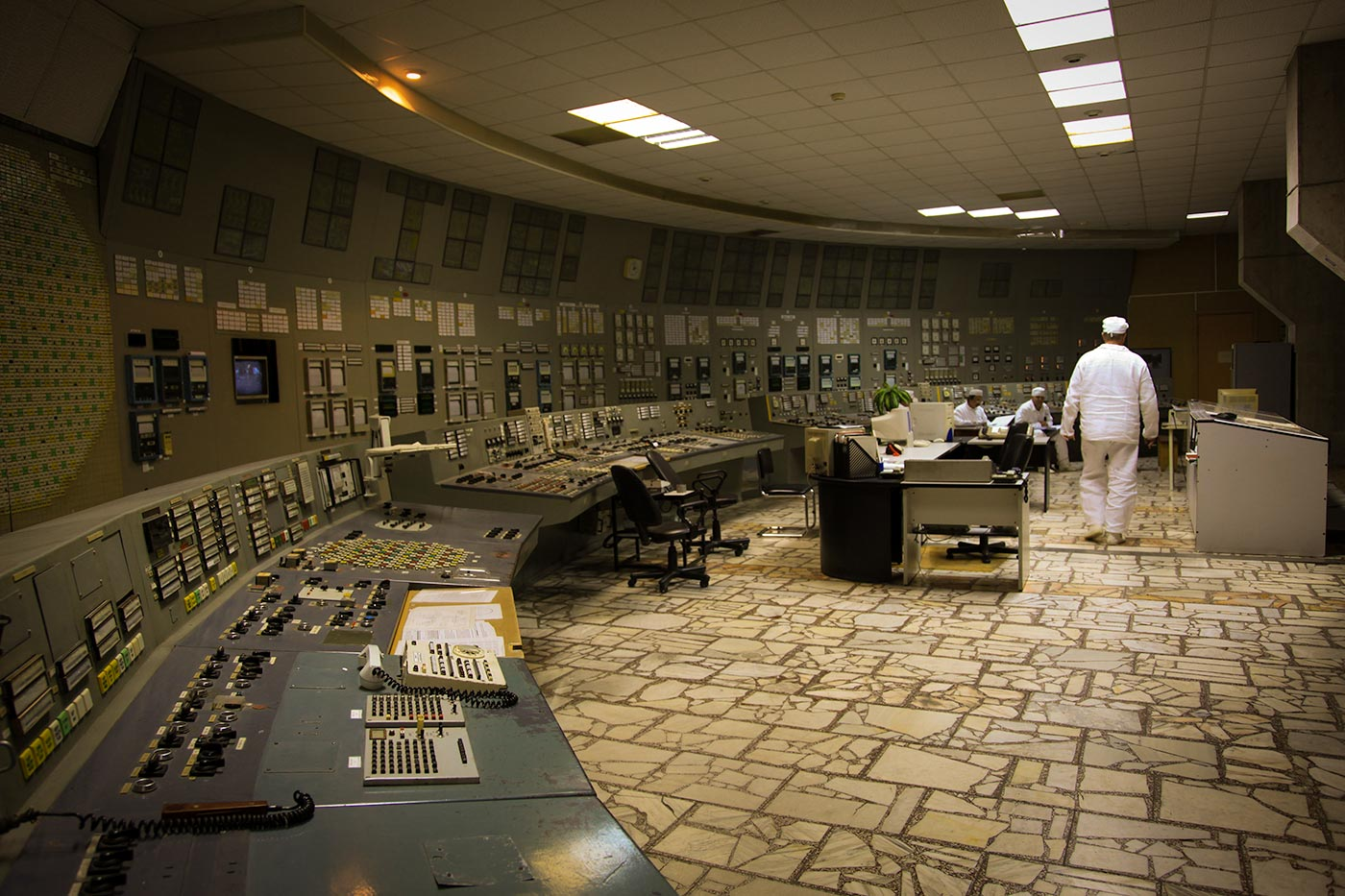 Kontrollrummet i Tjernobyls kärnkraftsverk